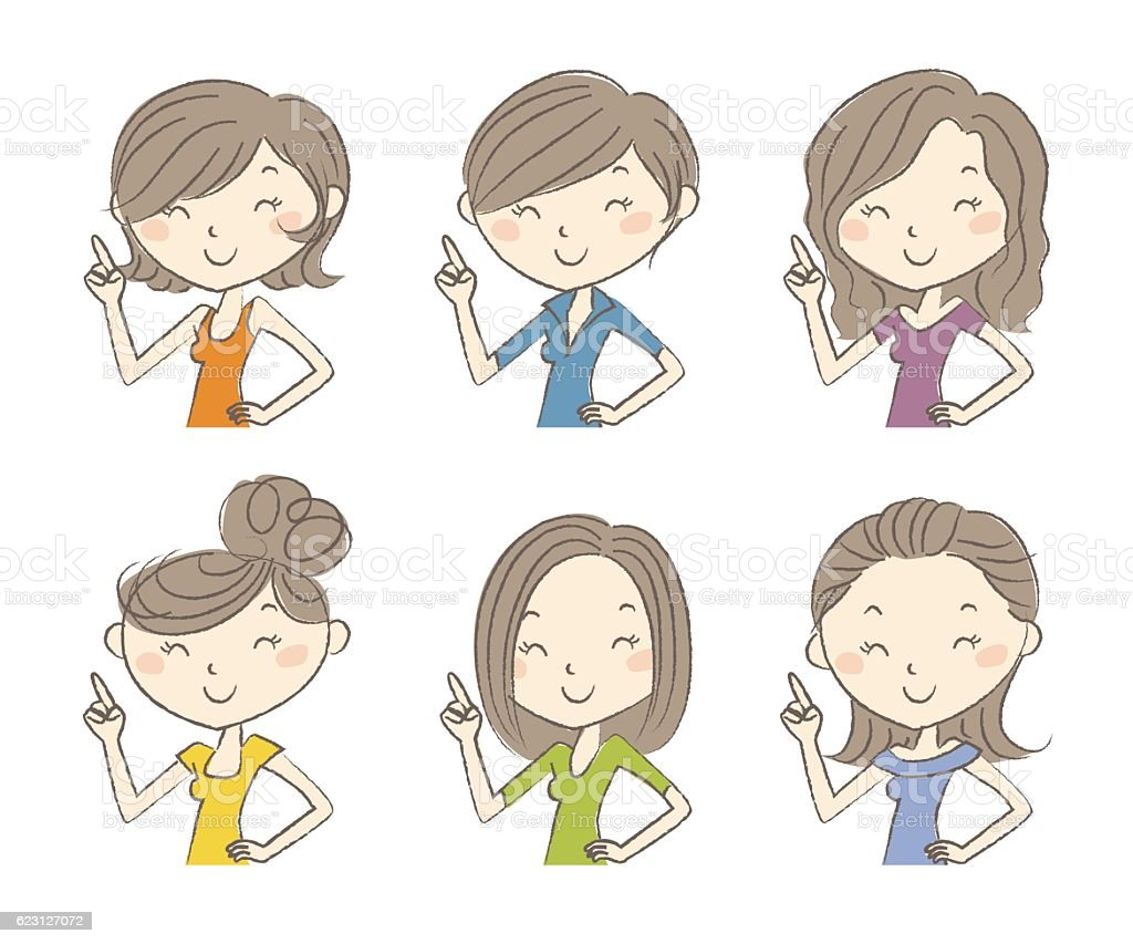 Set of womens hairstyles vector art illustration