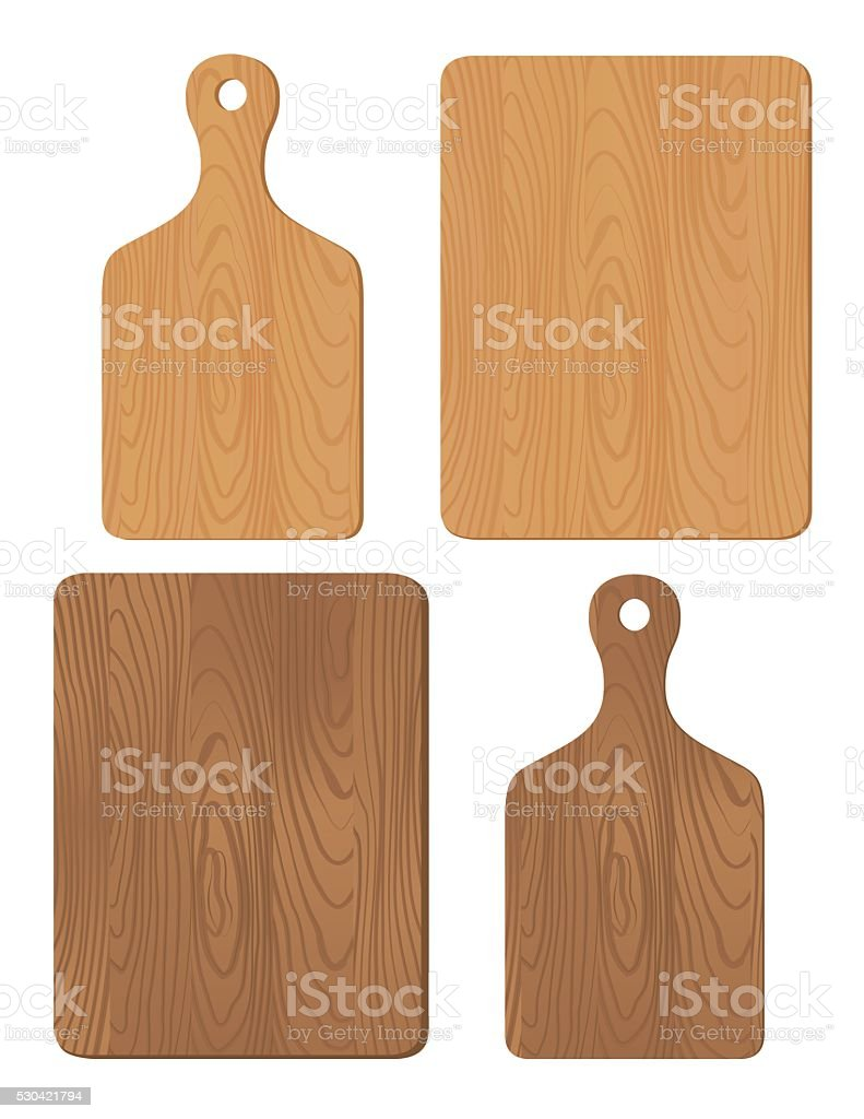 Set of Wood Cutting Boards vector art illustration