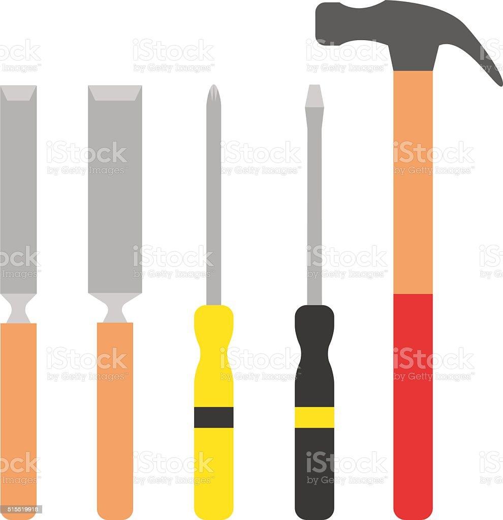Set of wood processing tools hand equipment cartoon vector illustration vector art illustration