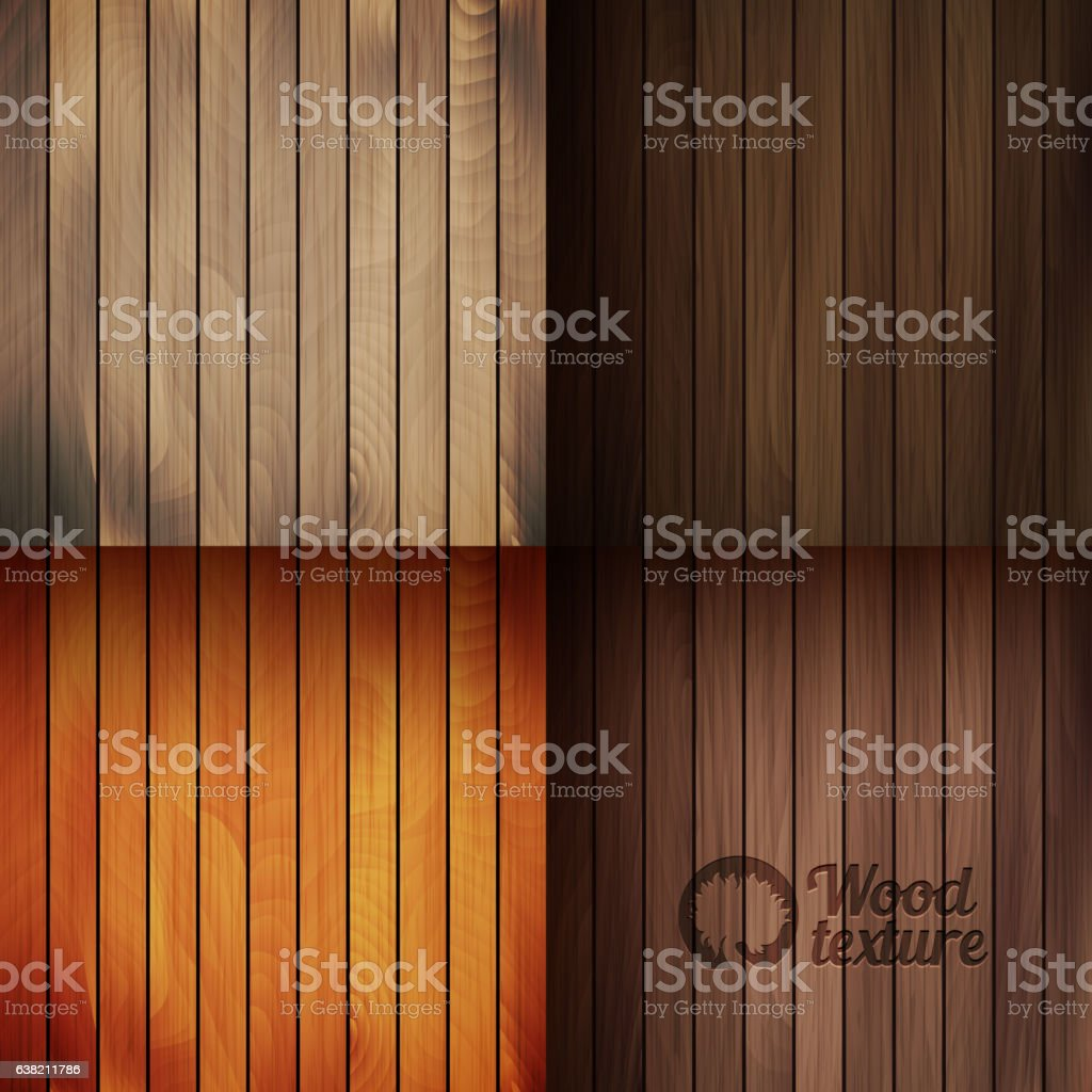 Set of wood texture backgrounds, four colors included vector art illustration