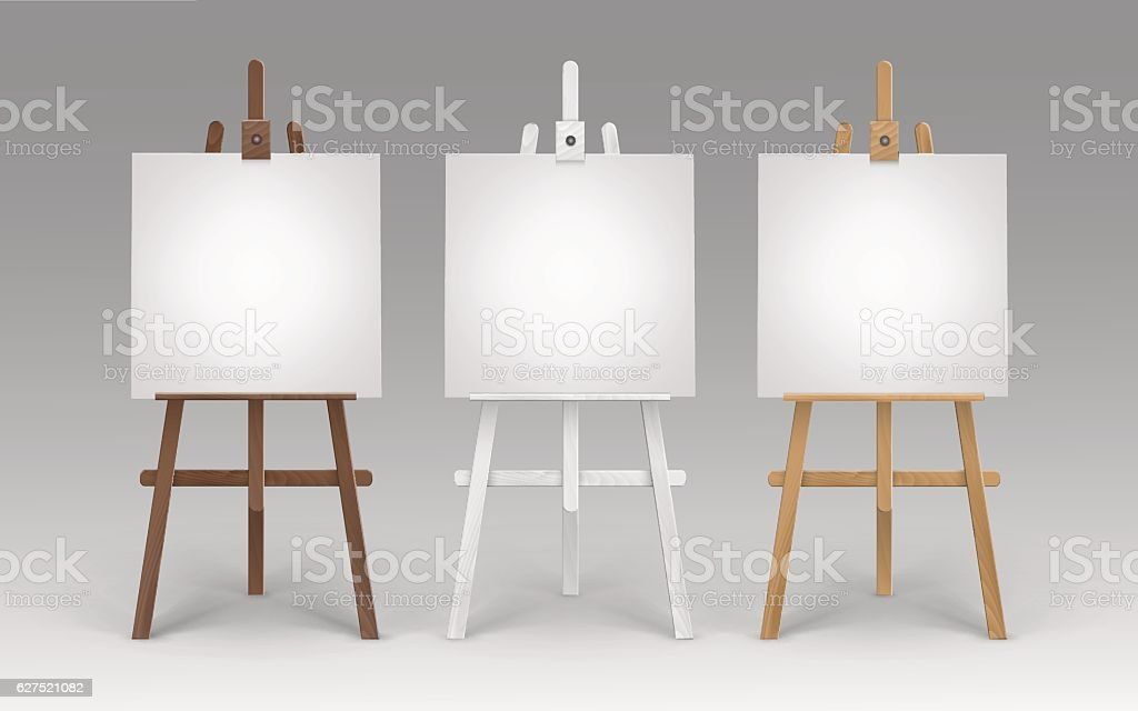 Set of Wooden Easels with Blank Square Canvases vector art illustration