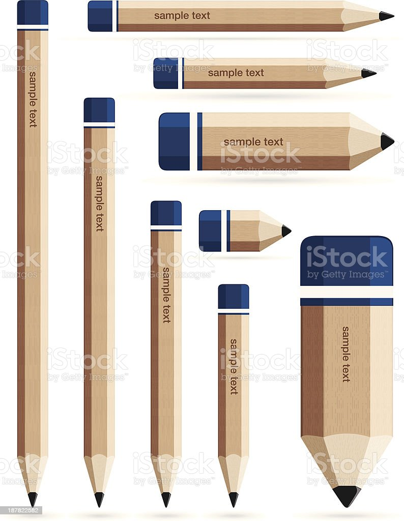 Set of wooden pencils. vector art illustration