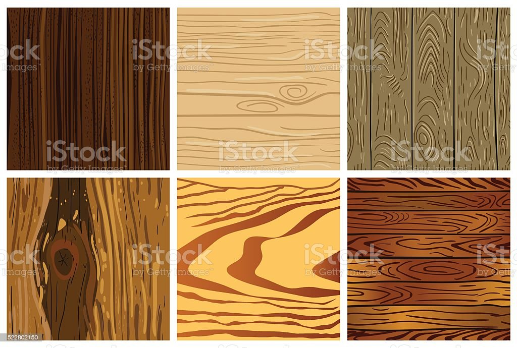 Set of wooden seamless pattern vector art illustration