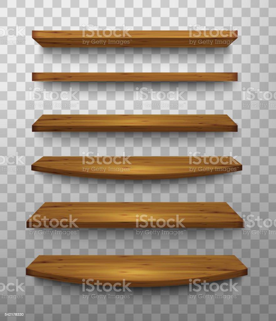 Set of wooden shelves on a transparent background. Vector. vector art illustration