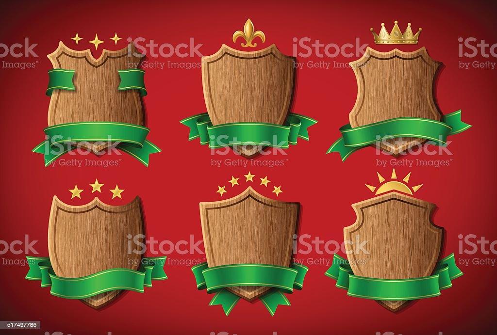 Set of Wooden Shields vector art illustration