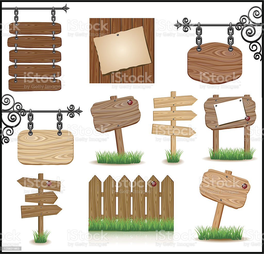 Set of wooden sigboards royalty-free stock vector art