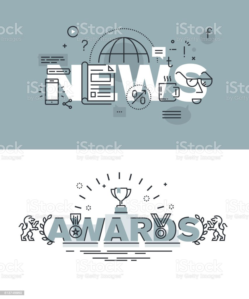 Conjunto de banners de palabra noticias y premios páginas Web illustracion libre de derechos libre de derechos