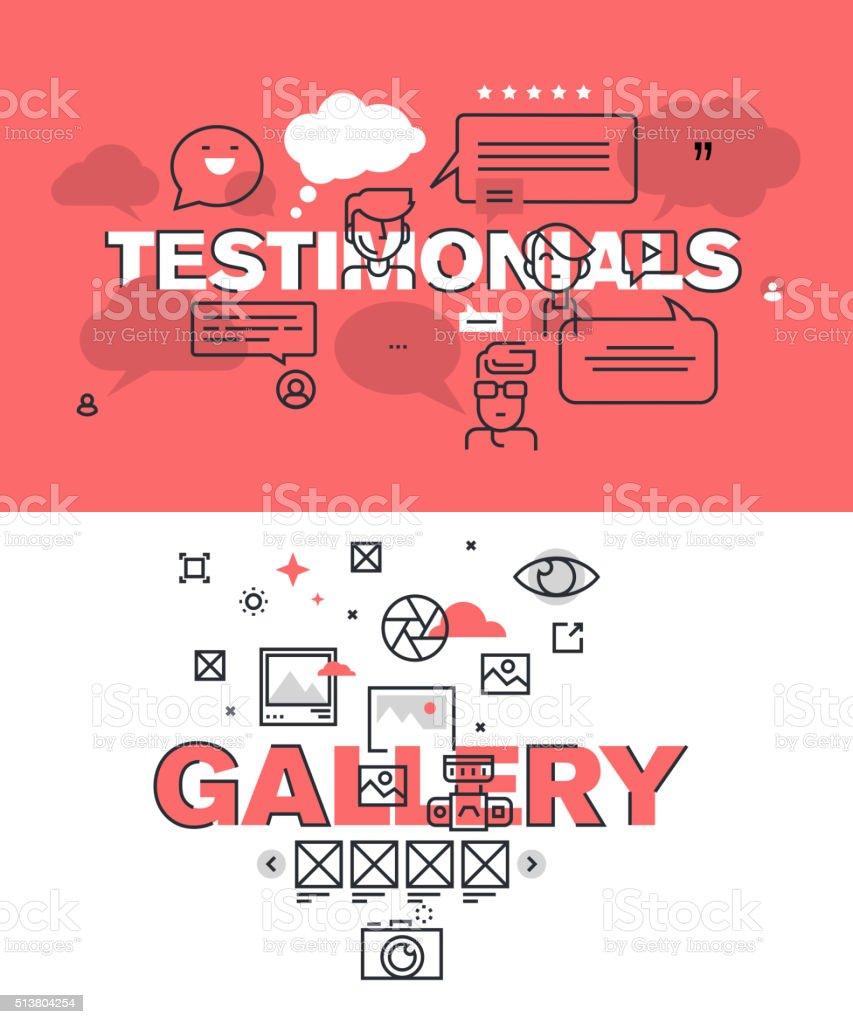 Conjunto de banners de palabras para testimonios y galería páginas Web illustracion libre de derechos libre de derechos