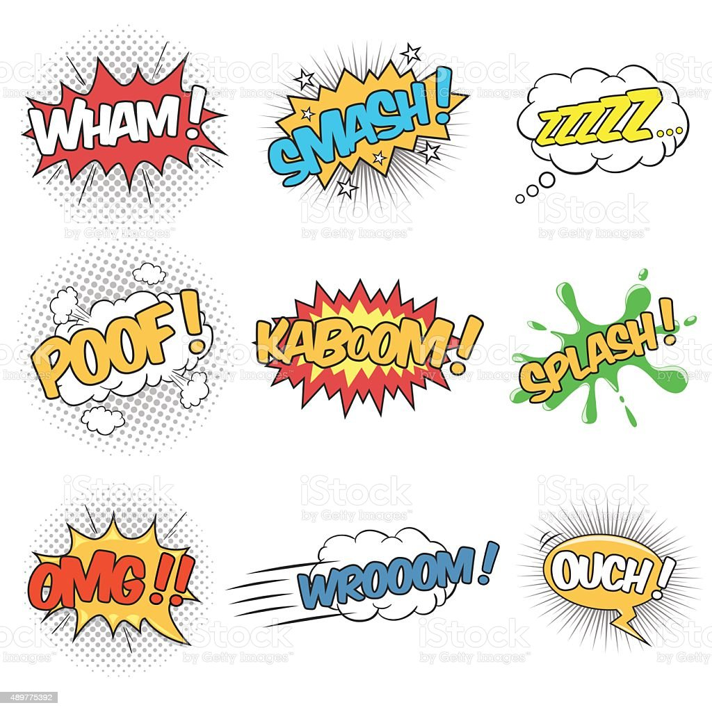 Set of Wording Sound Effects for Comic Speech Bubble vector art illustration