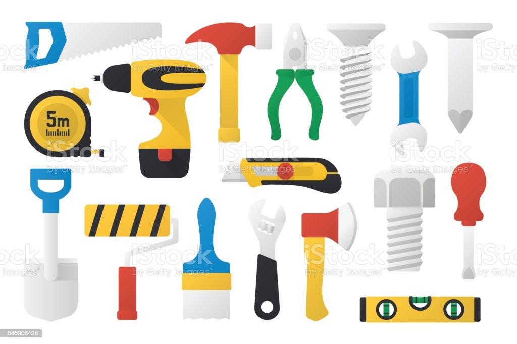 Set of work tools in flat design vector art illustration