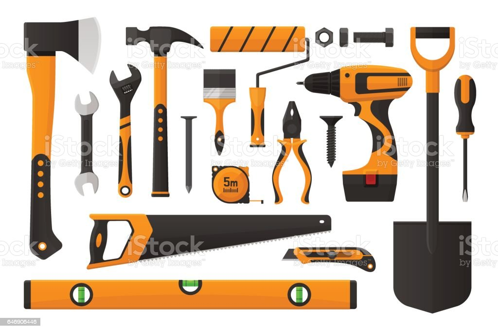 Set of work tools vector art illustration