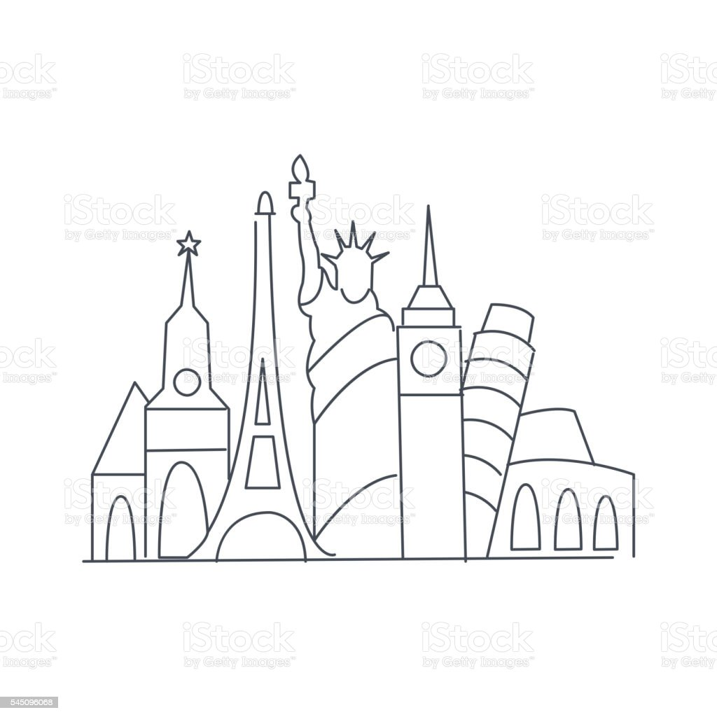 Set Of World Famous Symbolical Monuments vector art illustration