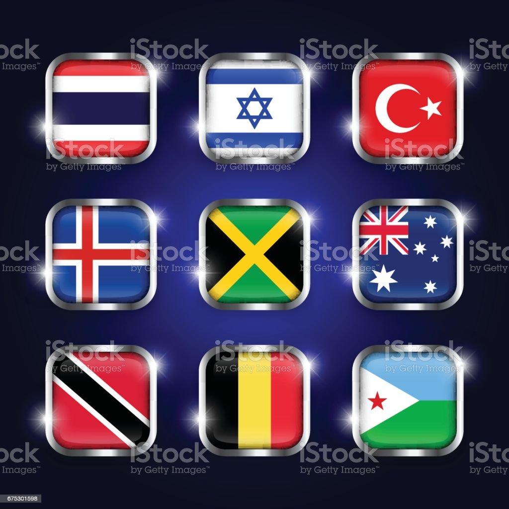 Set of world flags quadrangular glass buttons with steel border and twinkle ( Thailand . Israel . Turkey . Iceland . Jamaica . Australia . Trinidad and tobago . Belgium . Djibouti ) vector art illustration