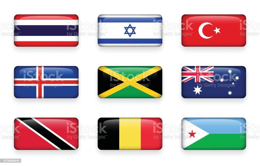 Set of world flags rectangle buttons ( Thailand . Israel . Turkey . Iceland . Jamaica . Australia . Trinidad and tobago . Belgium . Djibouti ) vector art illustration