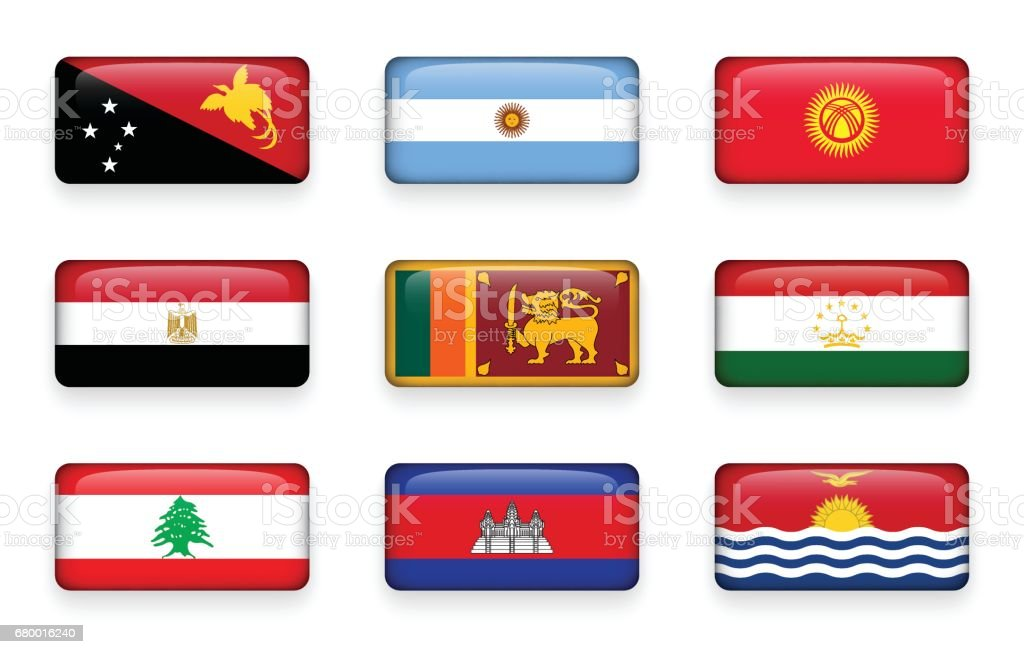 Set of world flags rectangle buttons ( Papua New Guinea . Argentina . Kyrgyzstan . Egypt . Sri Lanka. Tajikistan . Lebanon . Cambodia . Kiribati ) vector art illustration