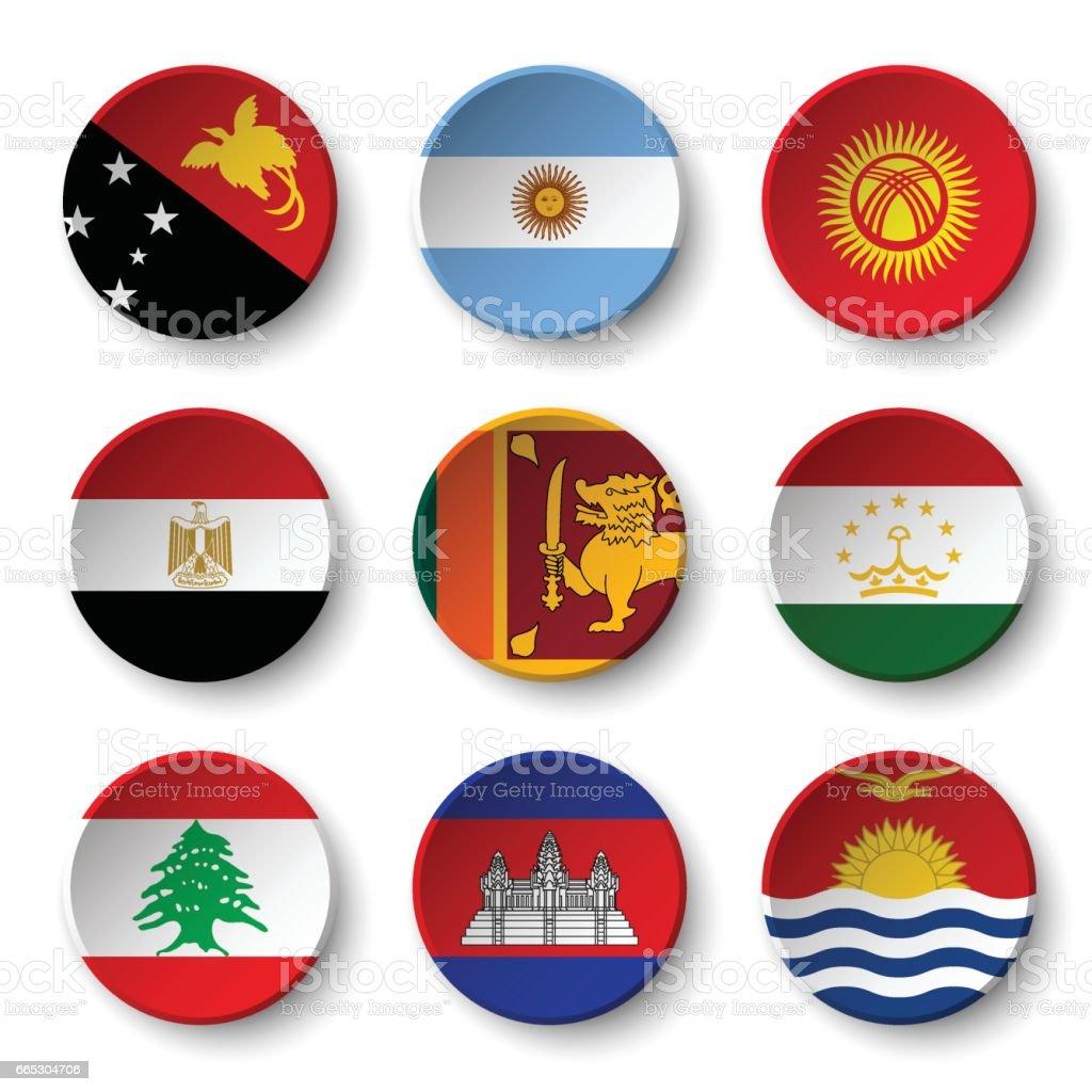 Set of world flags round badges ( Papua New Guinea . Argentina . Kyrgyzstan . Egypt . Sri Lanka. Tajikistan . Lebanon . Cambodia . Kiribati vector art illustration