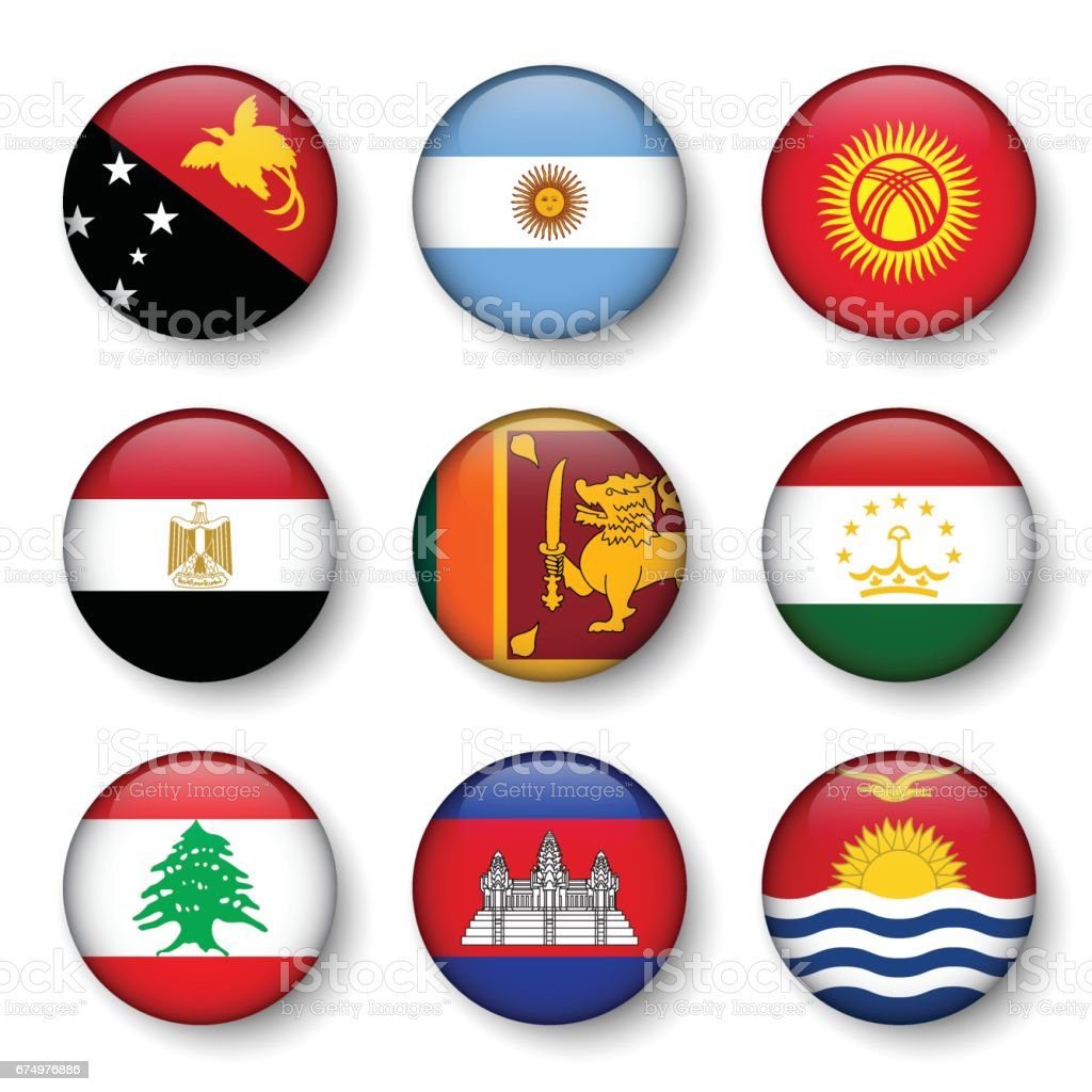 Set of world flags round badges ( Papua New Guinea . Argentina . Kyrgyzstan . Egypt . Sri Lanka . Tajikistan . Lebanon . Cambodia . Kiribati ) vector art illustration