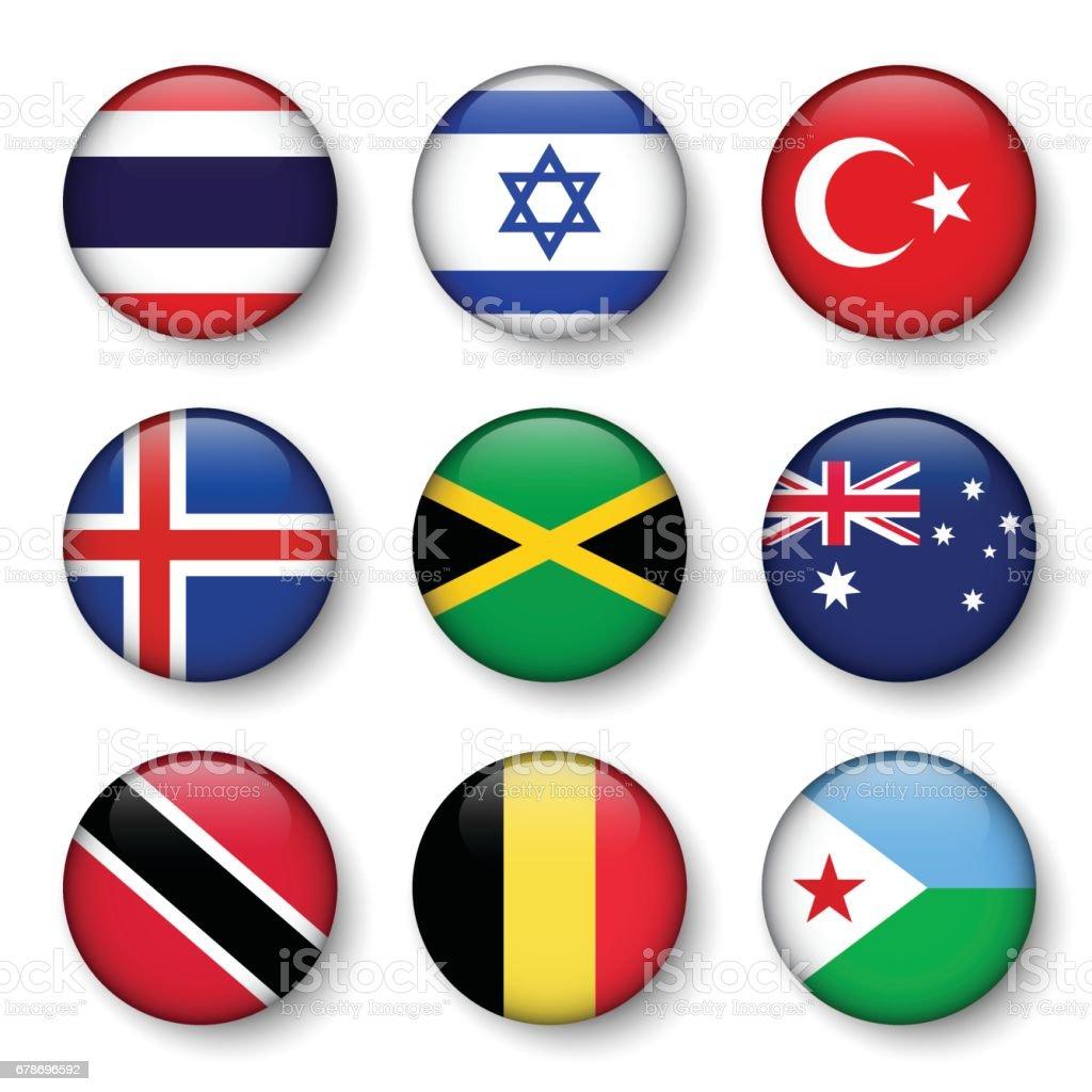 Set of world flags round badges ( Thailand . Israel . Turkey . Iceland . Jamaica . Australia . Trinidad and tobago . Belgium . Djibouti ) vector art illustration