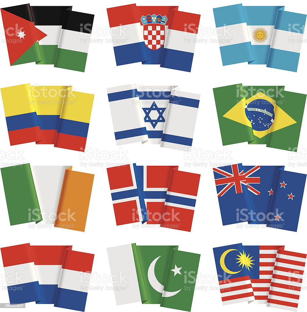 Set of world flags royalty-free stock vector art