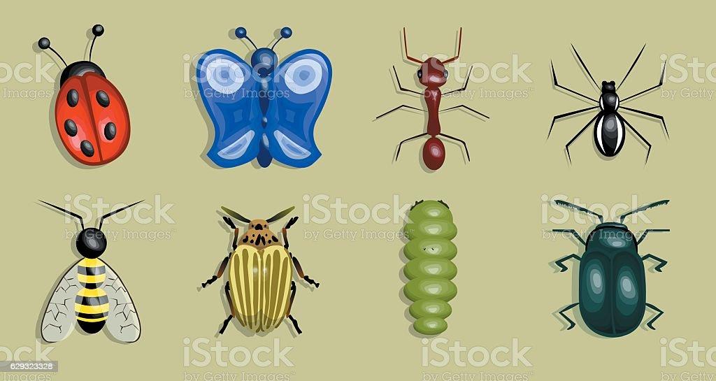 Set of worms vector art illustration