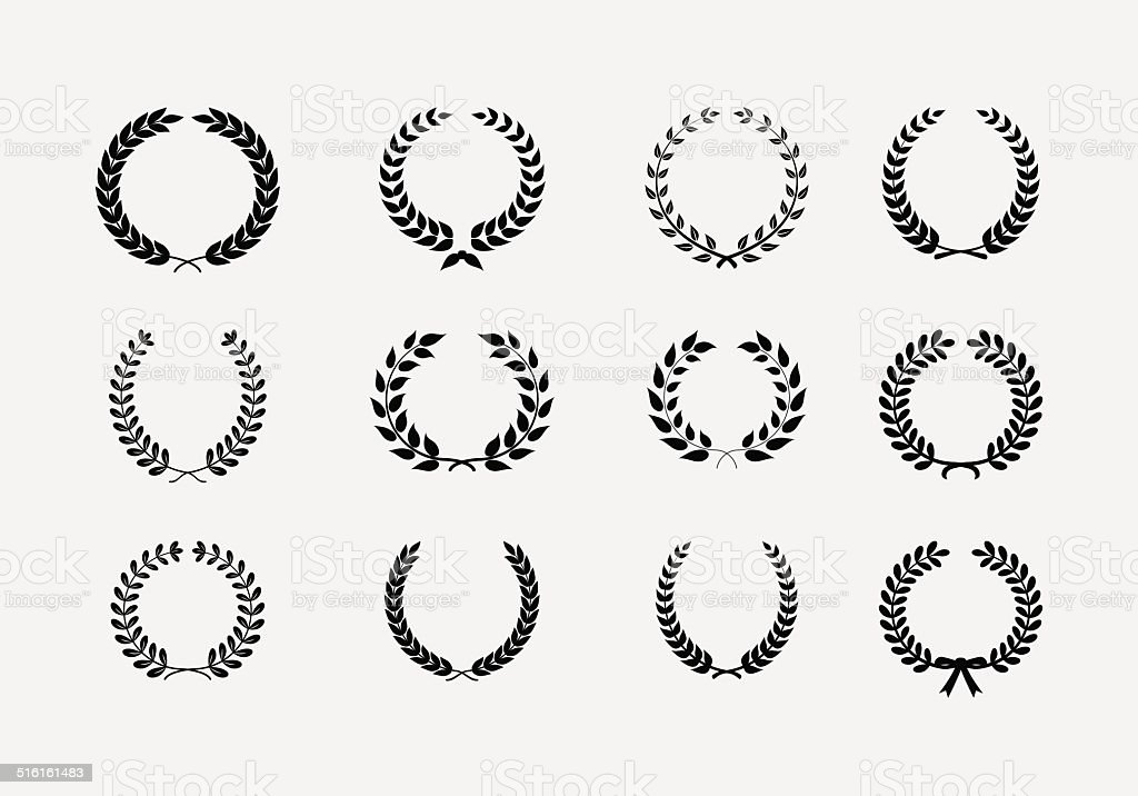 Set of wreaths vector art illustration
