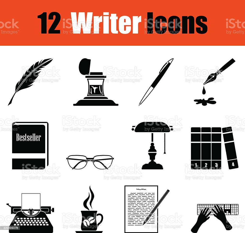 Set of writer icons vector art illustration