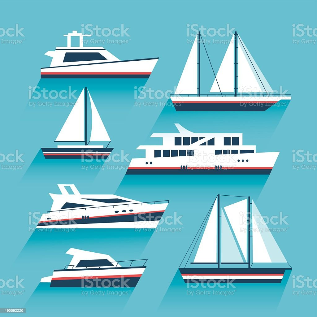 Set of yachts and maritime transport vector art illustration
