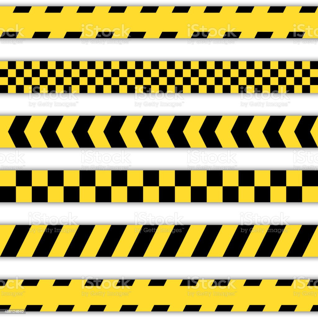 Set of yellow Barrier Tapes vector art illustration