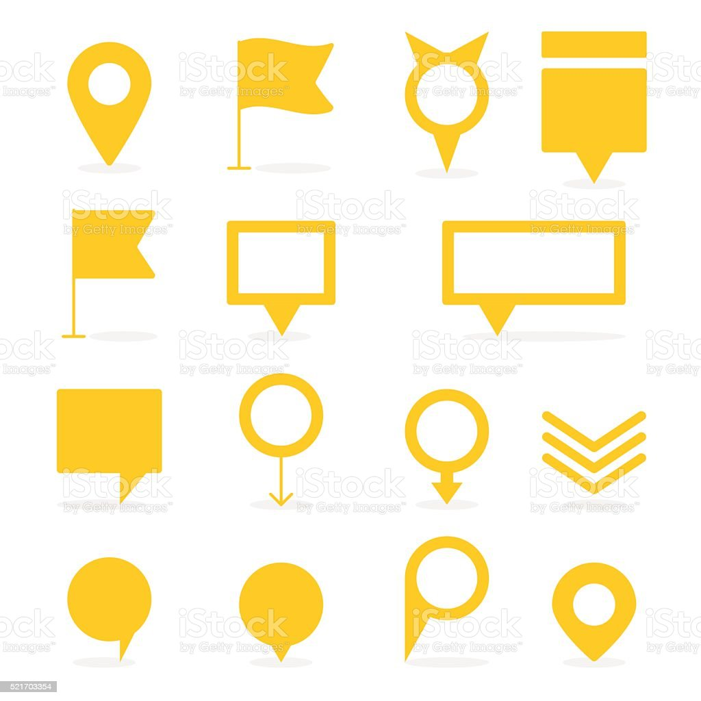 Set of yellow isolated pointers and markers different shapes vector art illustration