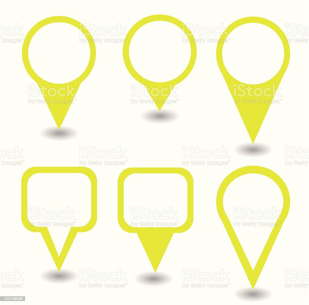 Set of yellow pointers and markers different shapes vector vector art illustration