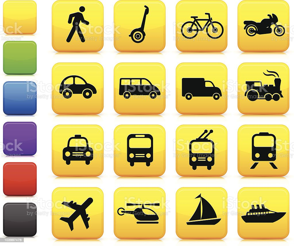 Set of yellow transportation icons vector art illustration