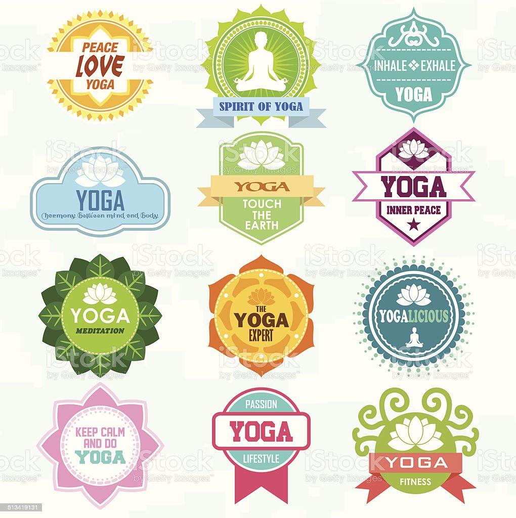 Set of yoga and meditation badge graphics and logo symbols. vector art illustration