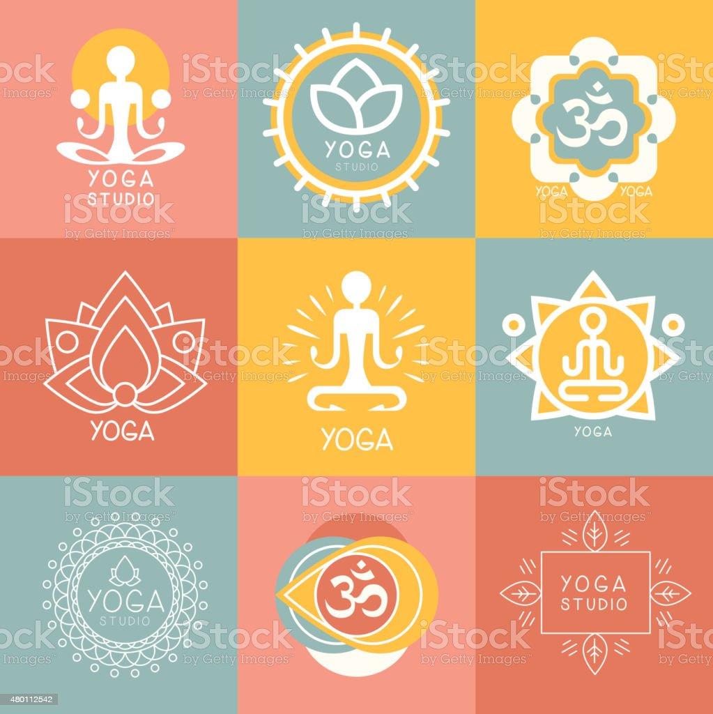 Set of Yoga and Meditation Symbols vector art illustration