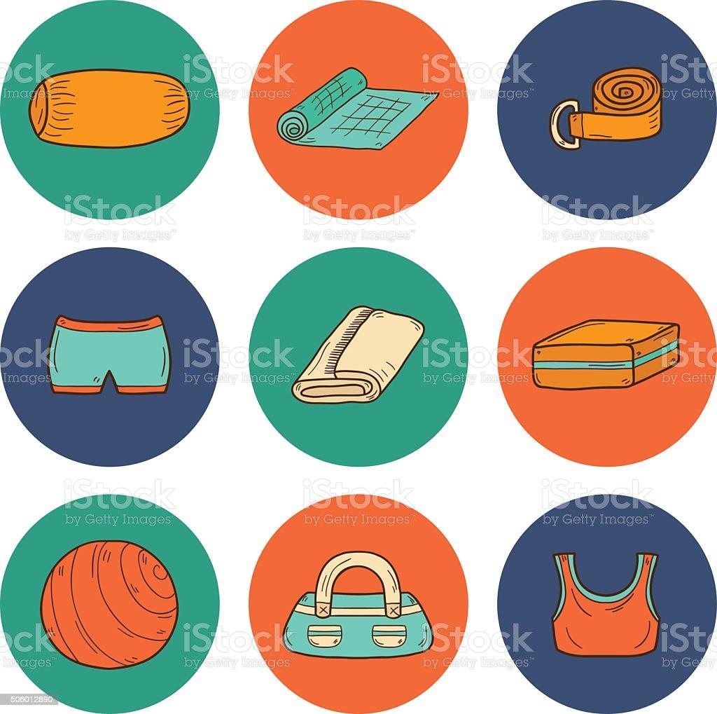Set of yoga equipment icons vector art illustration