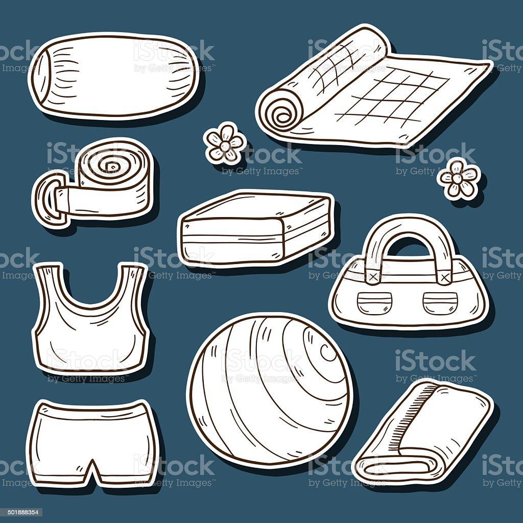 Set of yoga equipment stickers vector art illustration