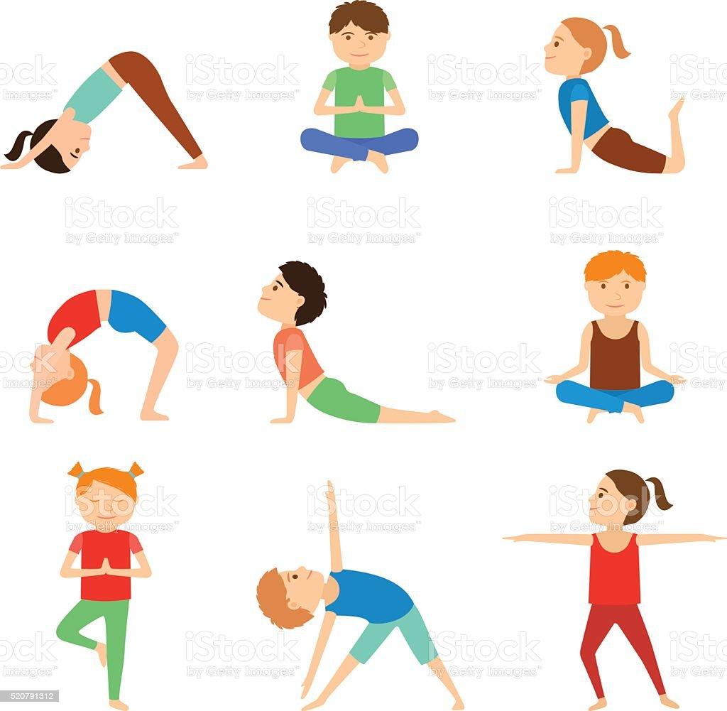 Set of yoga kids. vector art illustration