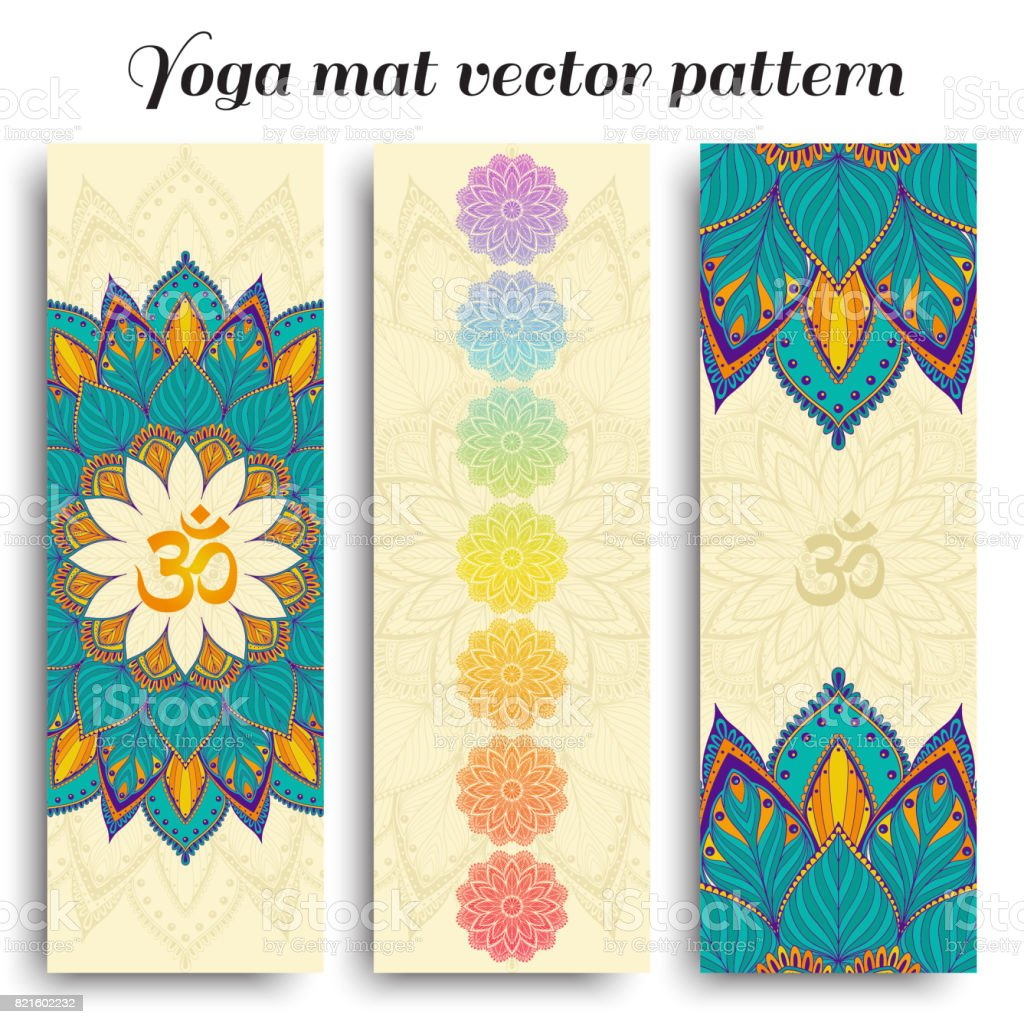 Set of yoga mat vector om and chakra pattern vector art illustration