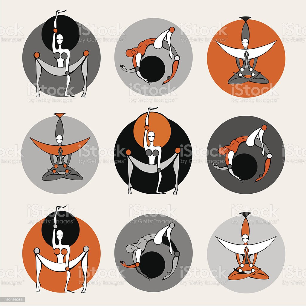 Set of yoga poses. vector art illustration
