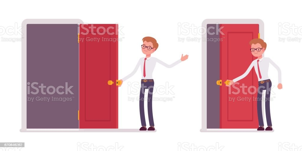 Set of young male clerk opening and closing the door vector art illustration