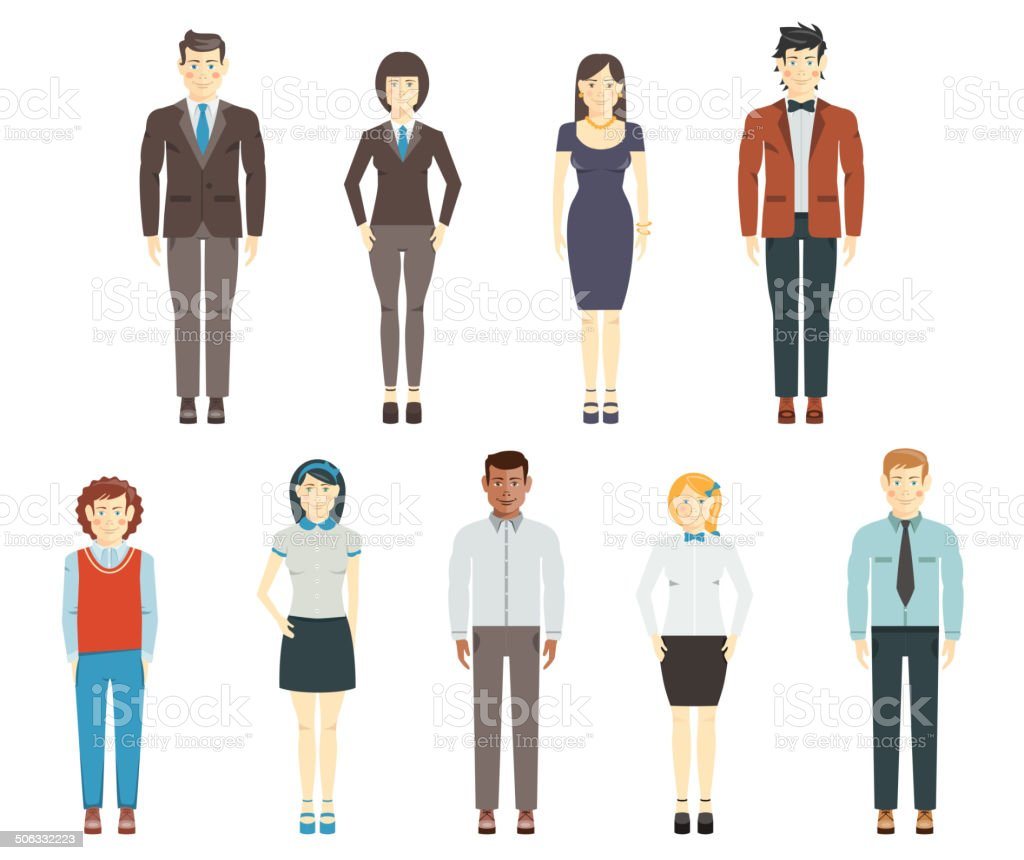Set of young men and women wearing office clothes royalty-free stock vector art