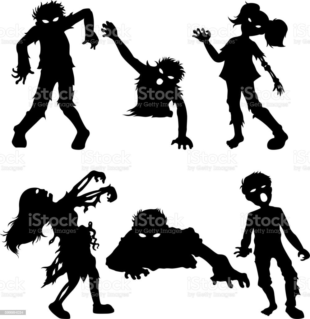 Set of zombie male and female of black silhouettes vector art illustration