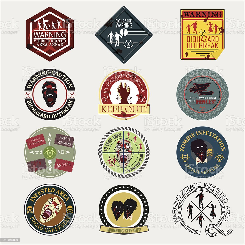 Set of zombie signs,badge label, graphics vector art illustration