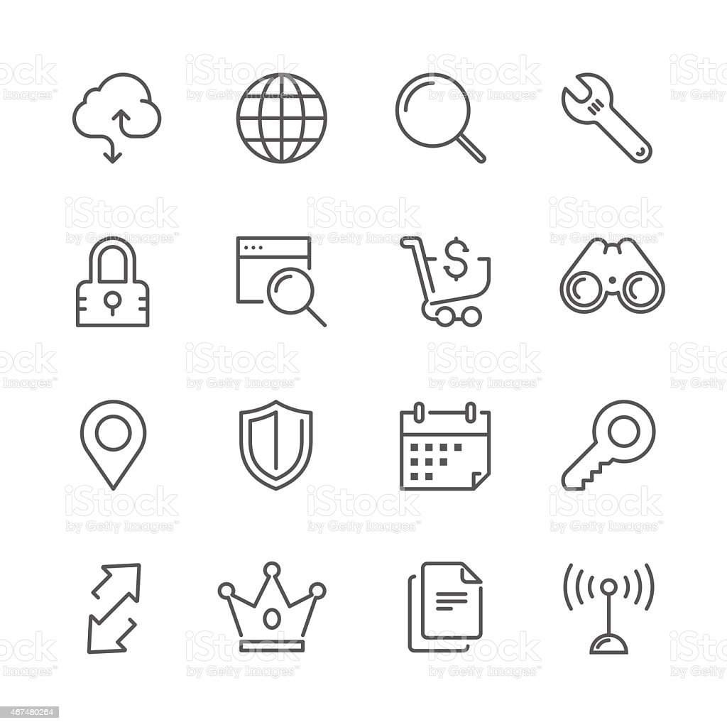 Set ofweb & internet concept | Line icon series vector art illustration