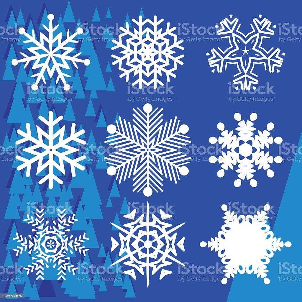 Set on different snowflakes vector art illustration