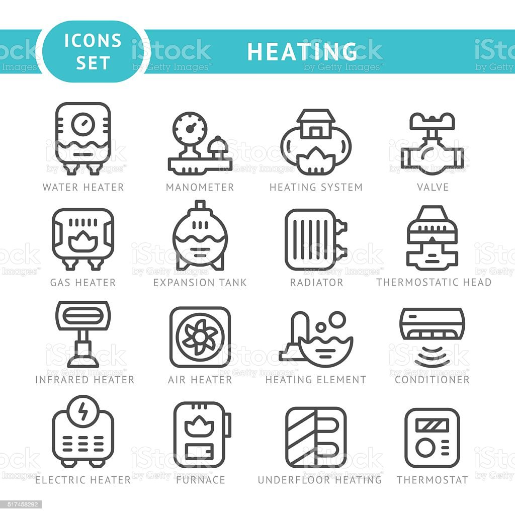 Set outline icons of heating vector art illustration