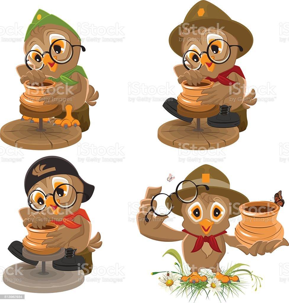 Set Owl Scout manufactures ceramic pot. Potter makes earthen pot vector art illustration