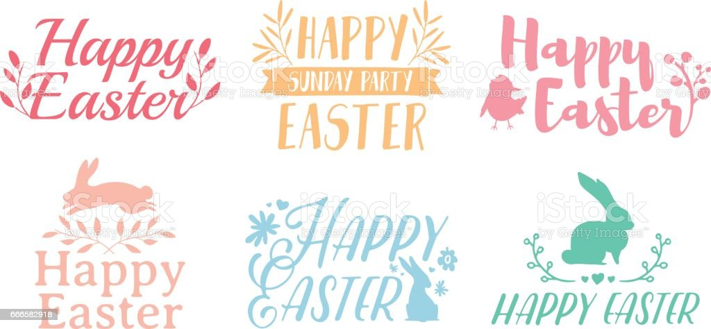 Set pastel color logo for Easter. Badges for the spring holiday of Easter. The design of label with a decor of flower, plant and rabbit. Vector. vector art illustration