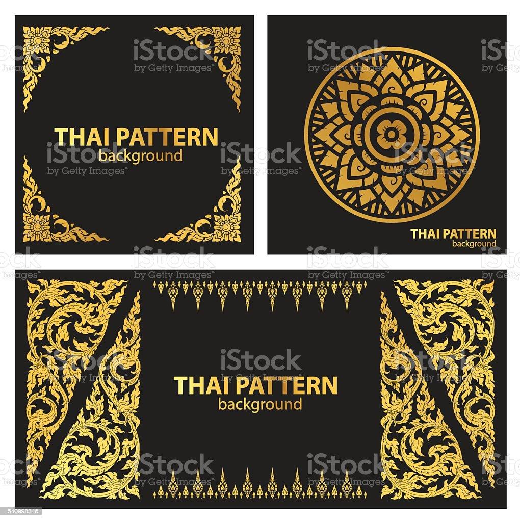 set pattern lines thai vector vector art illustration