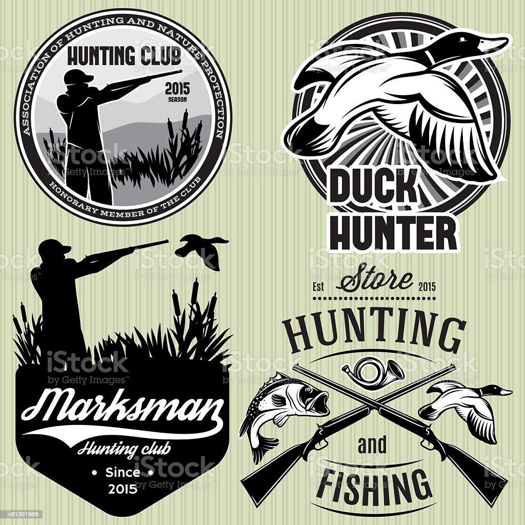 set patterns with duck, dip, gun, hunter for hunting emblem vector art illustration
