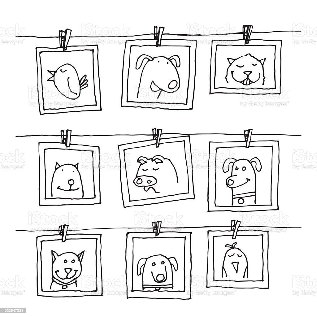 Set picture frames with animals portrait, hand drawn vector illustration. vector art illustration